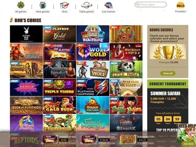 Bob Casino Games Lobby