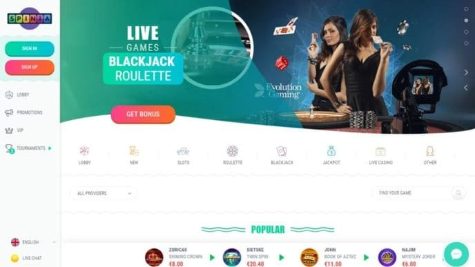 Spinia Casino Review and Ratings