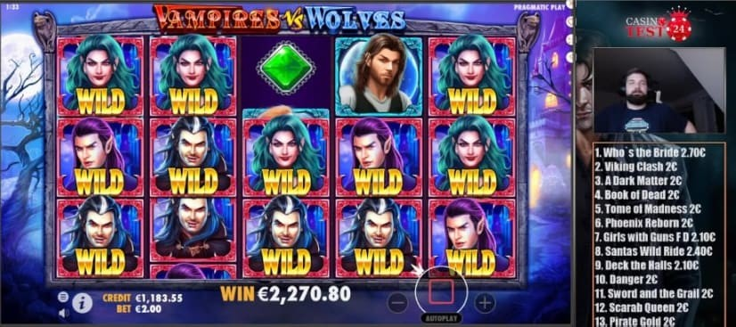 CasinoTest24 has good free spins on Vampires Vs. Wolves