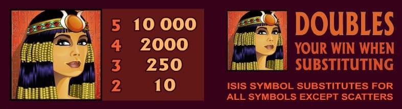 Mega Moolah Isis wild simbol